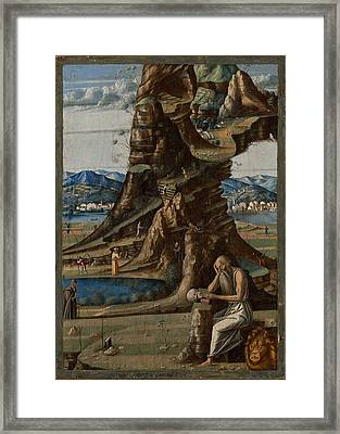 Saint Jerome In The Wilderness Framed Print
