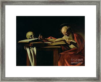 Saint Jerome Writing Framed Print by Caravaggio