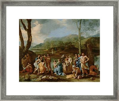 Saint John Baptizing In The River Framed Print by Nicolas Poussin