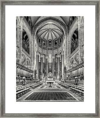 Saint John The Divine Interior Bw Framed Print by Jerry Fornarotto