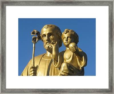 Saint Joseph And Child In Gold Framed Print