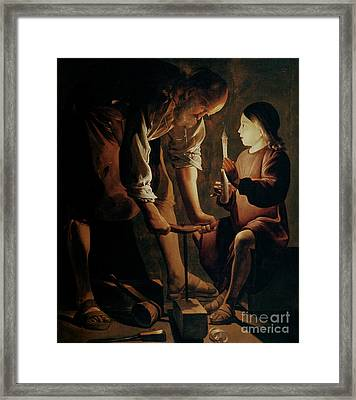 Saint Joseph The Carpenter  Framed Print by Georges de la Tour