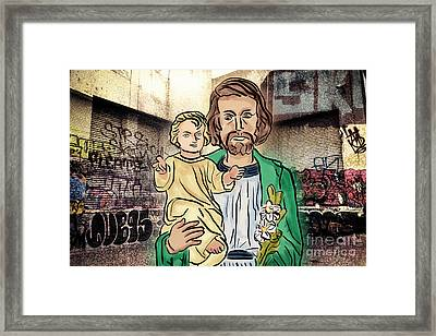 Saint Joseph The Protector Framed Print by Davy Cheng