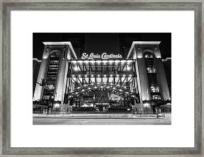 Saint Louis Cardinals Busch Stadium - Black And White Framed Print