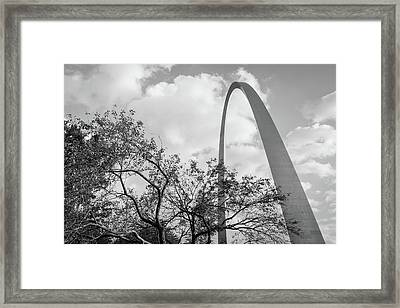 Saint Louis Gateway Arch Behind Trees - Black And White Framed Print