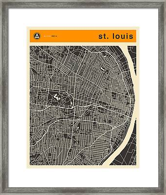 St Louis Map Framed Print by Jazzberry Blue
