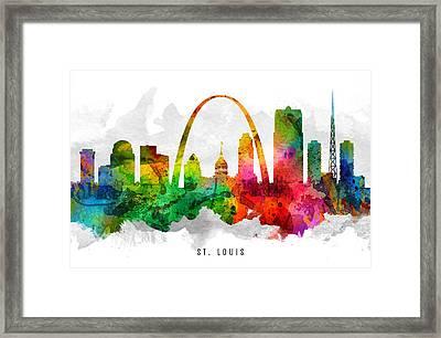 Saint Louis Missouri Cityscape 12 Framed Print by Aged Pixel