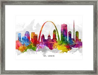 Saint Louis Missouri Cityscape 13 Framed Print by Aged Pixel