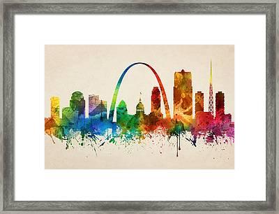 Saint Louis Missouri Skyline 05 Framed Print by Aged Pixel