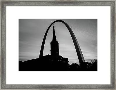 Saint Louis Skyline Silhouettes - Black And White - Usa Framed Print by Gregory Ballos
