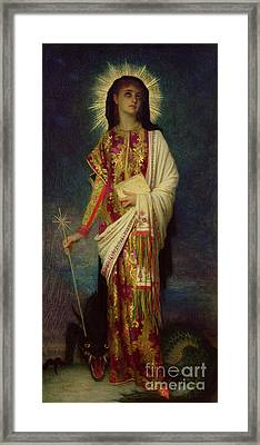 Saint Margaret Slaying The Dragon Framed Print by Antoine Auguste Ernest Herbert