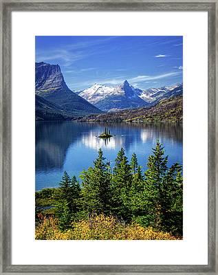 Saint Mary Lake And Wild Goose Island Framed Print by Carolyn Derstine