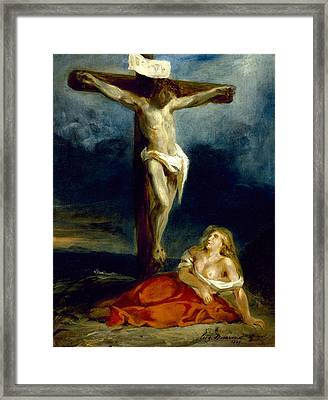 Saint Mary Magdalene At The Foot Of The Cross Framed Print