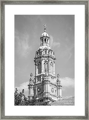 Saint Mary Of The Woods Church Tower Framed Print by University Icons