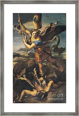 Saint Michael Overwhelming The Demon Framed Print