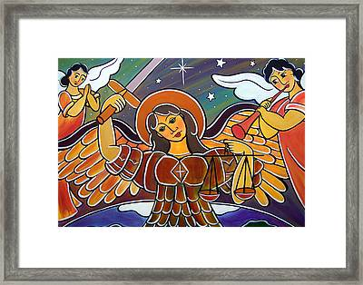 Framed Print featuring the painting Saint Michael - San Miguel by Jan Oliver-Schultz