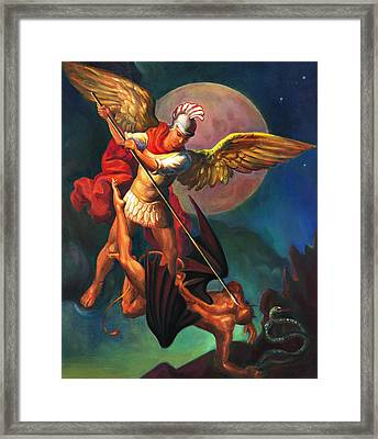 Framed Print featuring the painting Saint Michael The Warrior Archangel by Svitozar Nenyuk