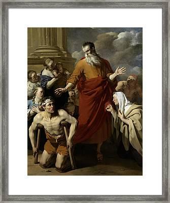 Saint Paul Healing The Cripple At Lystra Framed Print by Karel Dujardin