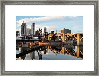 Saint Paul Mississippi River Sunset Framed Print