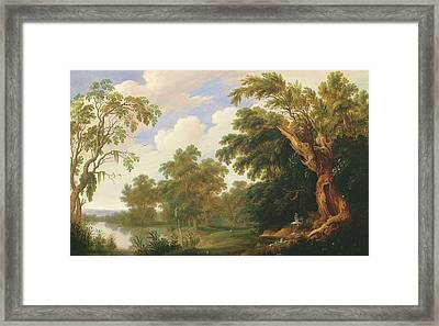 Saint Paul Visiting Saint Anthony In A Wooded Landscape Framed Print by Alexander Keirincx