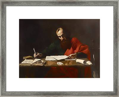 Saint Paul Writing His Epistles  Framed Print by Mountain Dreams