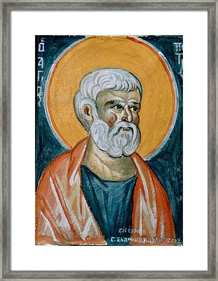 Saint Peter Framed Print by George Siaba