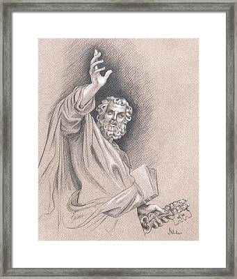 Framed Print featuring the drawing Saint Peter by Joe Winkler