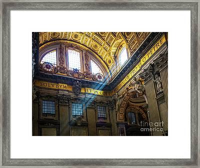 Saint Peter's Beams Of Light Framed Print