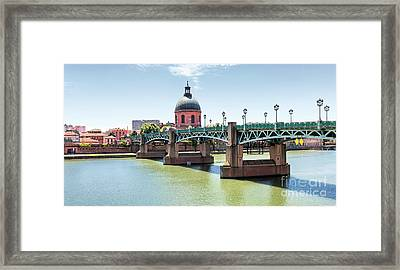 Saint-pierre Bridge In Toulouse Framed Print by Elena Elisseeva