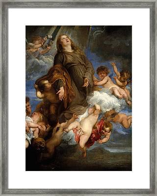 Saint Rosalie Interceding For The Plague-stricken Of Palermo Framed Print by Anthony van Dyck