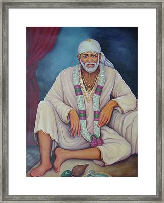 Saint Sai Baba, Shirdi Sai Baba, Portrait,online Art Gallery, Oil Painting On Canvas. Framed Print by B K Mitra