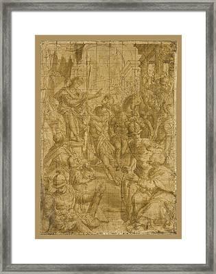 Saint Sebastian Before The Tyrant Framed Print by Aurelio Lomi
