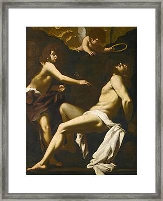 Saint Sebastian Succoured By The Angels Framed Print by Giovanni Baglione
