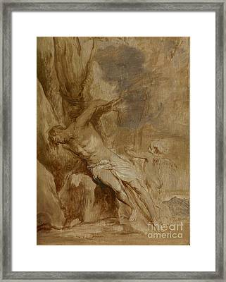 Saint Sebastian Tended By An Angel By Anthony Van Dyck Framed Print