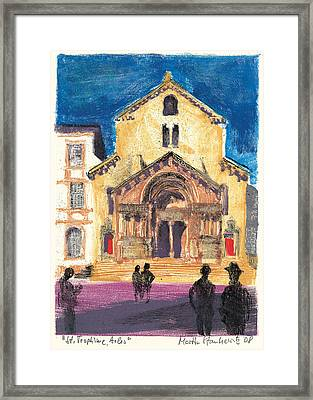 Framed Print featuring the painting Saint Trophime Arles Provence by Martin Stankewitz