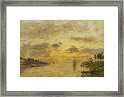 Saint-valery-sur-somme. The Mouth Of The Somme Framed Print by Eugene Boudin