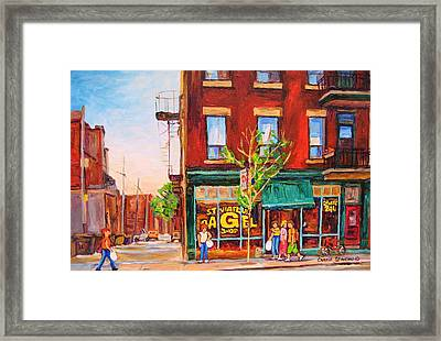 Framed Print featuring the painting Saint Viateur Bagel by Carole Spandau