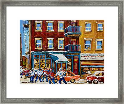 Saint Viateur Bagel With Hockey Framed Print by Carole Spandau