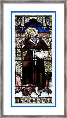 Saint William Of Aquitaine Stained Glass Window Framed Print