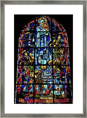 Sainte-mere-eglise Paratrooper Tribute Stained Glass Window Framed Print