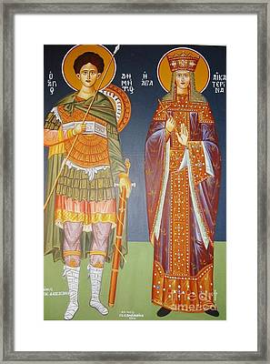 Saints Dimitrius And Aekaterina Framed Print by George Siaba