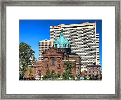 Saints Peter And Paul And Sheraton Hotel In Philadelphia  Framed Print by Olivier Le Queinec