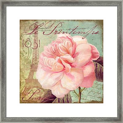 Saisons Pink Peony Rose Framed Print by Mindy Sommers