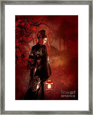 Sakura Red Framed Print by Shanina Conway
