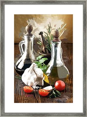 Salad Prep Before Supper Framed Print