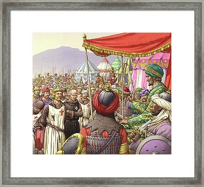 Saladin Orders The Execution Of Knights Templars And Hospitallers  Framed Print by Pat Nicolle