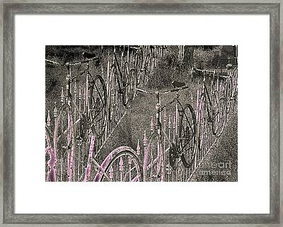 Salado / Bicycles On The Fence 2 Framed Print by Elizabeth McTaggart