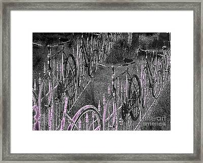 Salado / Bicycles On The Fence  Framed Print by Elizabeth McTaggart