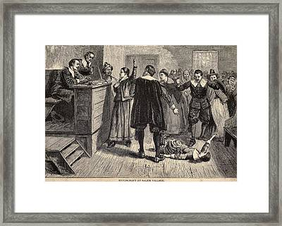 Salem Witch Trials. A Women Protests Framed Print by Everett