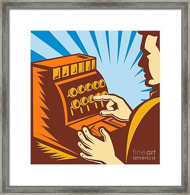 Sales Clerk Or Cashier Framed Print by Aloysius Patrimonio